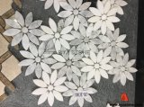 Mosaïque de marbre blanche en bois grise de fleur pour la décoration de mur intérieur