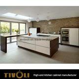 豪華なベンチの上が付いている波デザイン白くおよび黒い台所単位はTivo-0206hをカスタム設計する