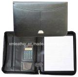 Zip A4 Bonded Leather File Portfolio Folder avec calculatrice