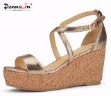 Beiläufige Schuh-Frauen-Laser-Korken-Plattform-Sandelholze der Dame-hohe Absätze
