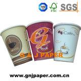 Taza de papel de un sólo recinto de la impresión multicolora con la tapa