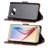 Caixa britânica do couro da aleta da carteira do estilo para a borda de Samsung S7