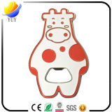 Симпатичная форма коровы с консервооткрывателем бутылки сплава цинка металла влияния 3D