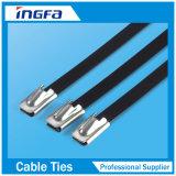 Fascetta ferma-cavo nera autobloccante rivestita dell'acciaio inossidabile del PVC per industriale
