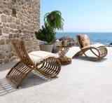 La mobilia del patio del rattan ha impostato con il giardino dell'hotel