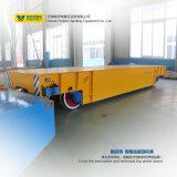 Coche de transferencia motorizado plano del carril eléctrico usado en almacén