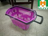 Panier à provisions en plastique de double traitement au détail commode de supermarché