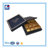 Caixa de papel de empacotamento cosmética do presente da cor dourada com logotipo