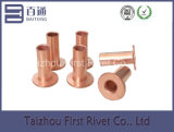 10-10 rebite de aço tubular cheio principal liso chapeado cobre
