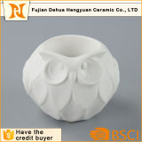 かわいいフクロウの形のホーム装飾のための白い陶磁器の蝋燭ホールダー