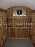 Mobiliário de luxo em madeira sólida adega de vinho de madeira com cremalheira de vinho