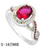 De nieuwe Model Echte Zilveren Ring van Juwelen 925 met Gekleurd CZ