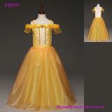 2017 gelbe Blumen-Mädchen kleidet für die Hochzeits-Schaufel an, die mit Appliques und Bowtulle Ballkleid-Kind-Kommunion-Kleidern Backless ist