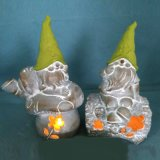 Anão iluminado diodo emissor de luz da resina do revestimento da pedra do OEM para a decoração da jarda