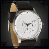 Reloj de los relojes del acero inoxidable del asunto del reloj de los hombres calientes de la venta de la manera Yxl-399 de la parte posterior de los hombres del reloj de los hombres de cuero de lujo del cronógrafo