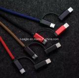 High Speed 2 в 1 аттестованной Mfi линии даты кабель с оплеткой поручать и данным по USB для iPhone и Android