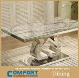 中心の形の足の大理石の表面ダイニングテーブルの家具