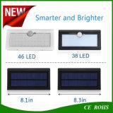 Nuova luminosità solare aggiornata 4 di Lghts 800lm del sensore di movimento 46LED alta in 1 indicatore luminoso della parete LED di Graden con la batteria LiFePO4