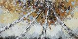 キャンバスの木の景色の油絵