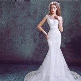 Do laço Strapless da garganta da sereia comprimento cheio V que Wedding o vestido nupcial