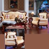 Ledernes Sofa mit hölzernem Sofa-Rahmen und Tisch (D508)