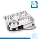 De 5 Dienbladen van uitstekende kwaliteit van het Buffet van de Plaat van het Dienblad van het Voedsel van het Roestvrij staal van Compartimenten