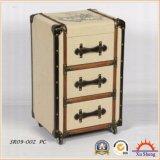 時代物の家具の3引出しの居間のための車輪が付いているリネン房状のブラウンの木製のキャビネット