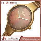 Reloj impermeable del cuarzo del acero inoxidable de la manera con el chapado en oro
