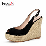 casual Suede Leather Women 숙녀 하이 힐 밧줄 쐐기(wedge) 샌들