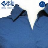 La Largo-Funda azul marino Da vuelta-Abajo a la blusa cómoda de las señoras del algodón del botón de collar