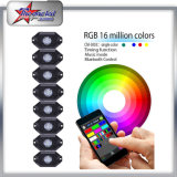 Venta al por mayor precio de fábrica 4/6/8/12 Pods RGB LED Rock Light Kit con Bluetooth Control