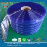 Bester Preis blaues Standarddoulbe versah Plastik-Belüftung-Tür-Vorhang-Streifen mit Rippen