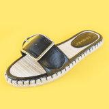 Sandali piani della trasparenza della scarpa di tela delle signore della ragazza dell'inarcamento della decorazione del nero dell'unità di elaborazione del sottopiede casuale della iuta
