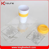 Geen Leaking 500ml Silicone Coffee Cup met OEM Sillicone Band en Cover (kl-CP004)