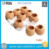 Set adorável de 9 Brown Eggs Design Ceramic Plant Pot