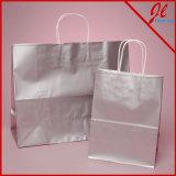 Compradores de papel blancos brillantes de los bolsos de compras de la tinta metálica