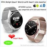 Détection de support de fréquence cardiaque de la montre 2016 intelligente ronde avec Bluetooth (K78H)