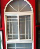 ヨーロッパ規格の現代デザイン木製の穀物のフィルム上塗を施してあるPVC開き窓のガラス窓(PCW-035)