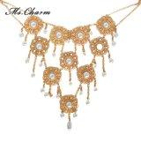Colliers d'Or-Couleur de Simuler-Perle longs de fleur type en cristal de collier de rétro