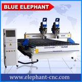 Machine 2055, doubles machines de gravure de couteau de commande numérique par ordinateur d'Ele de commande numérique par ordinateur de têtes pour le travail du bois