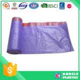 Bolso de basura resistente multicolor plástico del lazo