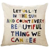 Différents mots faisant à lettres faciles le coussin fait sur commande de polyester de peinture de logo