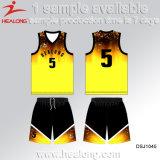 Healongのスポーツ・ウェアの最新の昇華物メンズバスケットボールジャージー