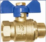 Full de cobre amarillo Port Valve con Butterfly Handle/Ball Valve (A. 0110)