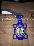 Válvula de borboleta da bolacha do ferro de carcaça de Dn125 Pn16 com alavanca de alumínio