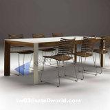 贅沢な現代ダイニングテーブルまたは大理石のダイニングテーブルおよび椅子または光沢度の高いダイニングテーブル