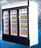 Refrigerador ereto triplo da bebida da porta de balanço para o supermercado