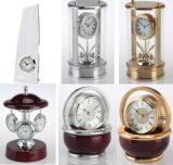 Reloj de madera creativo K8037 del escritorio del movimiento de cobre amarillo esquelético