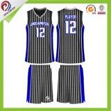 乾燥した適合の染料の昇華スポーツのユニフォームの最もよいバスケットボールのジャージデザイン