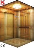 파란 가벼운 견인 기계를 가진 호텔 엘리베이터